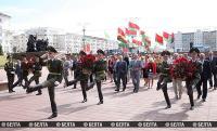 Григорий Рапота во время церемонии возложения цветов в Витебске